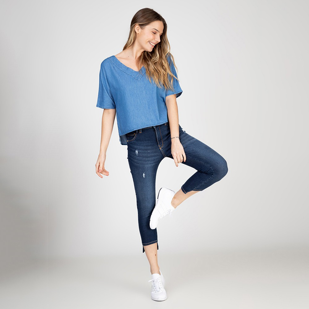 Blusa Jeans Cropped Ampla Manga Japonesa