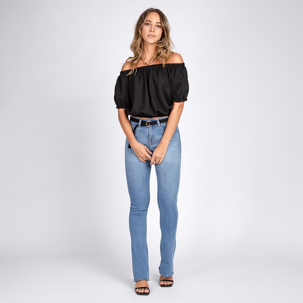Blusa Jeans Cropped Ciganinha Cor Preto
