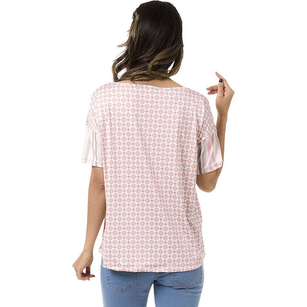 Blusa Jersey Estampada Manga Curta