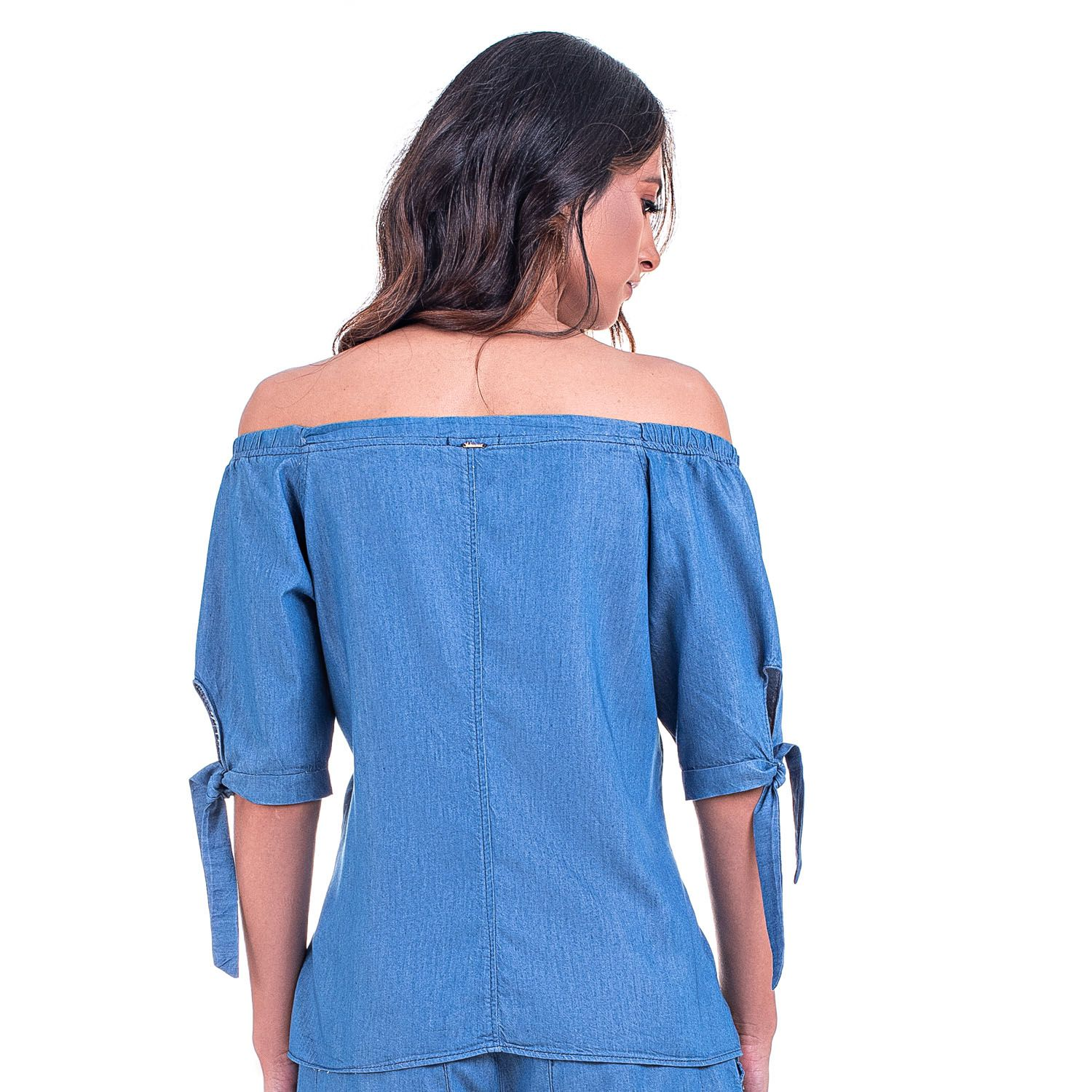 Blusa Ombro a Ombro Jeans Leve