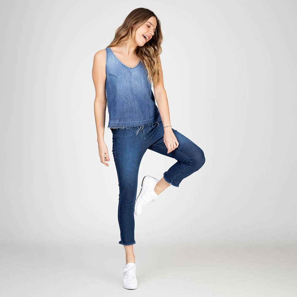 Blusa Regata Jeans Decote V Degradê