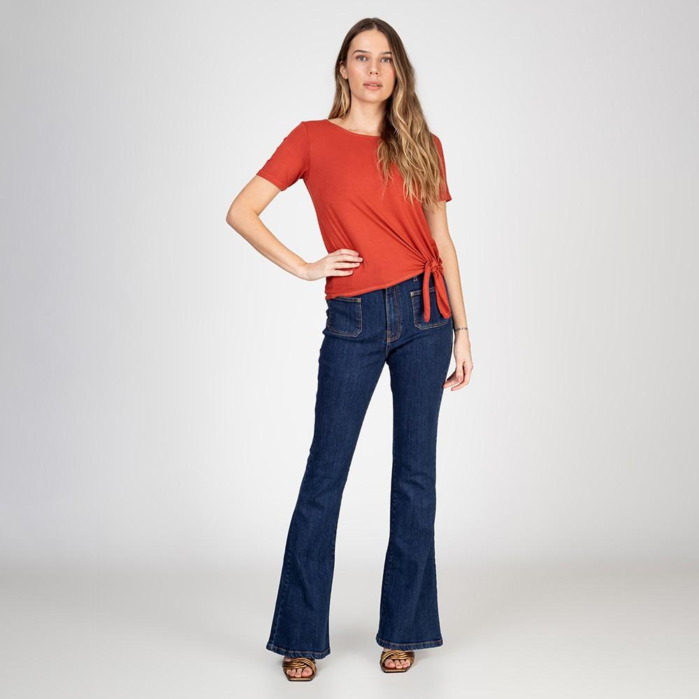 Blusa T-Shirt Amarração Lateral Cor Terra