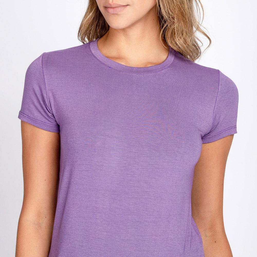 Blusa T-Shirt Decote Careca Manga Curta Cor Lilás