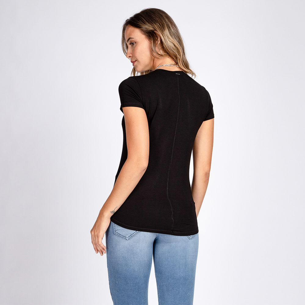 Blusa T-Shirt Decote Careca Manga Curta Cor Preto