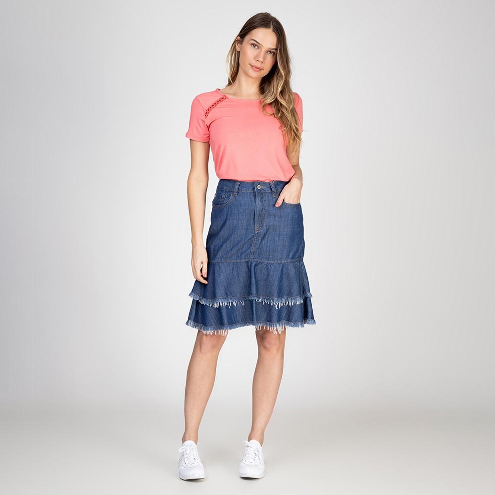 Blusa T-Shirt Detalhe Ombros Cor Rosa Antigo