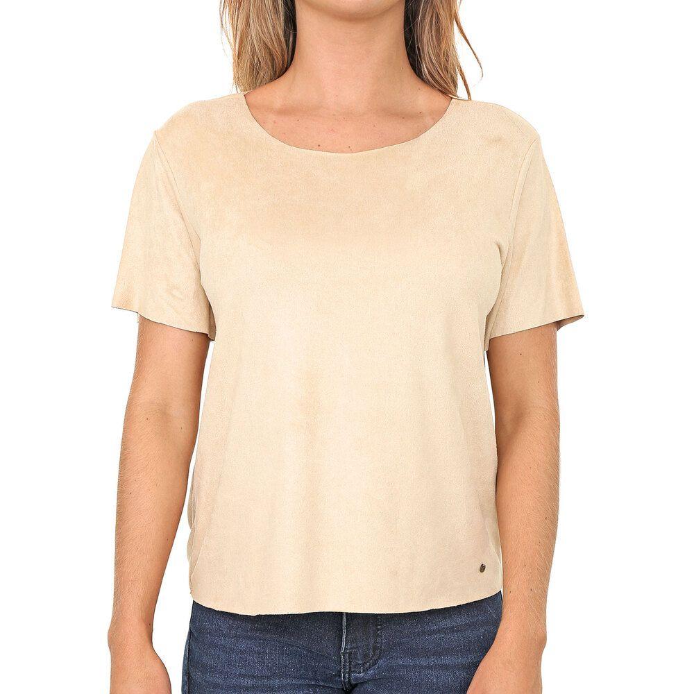 Blusa T-Shirt Suede Bege Deserto