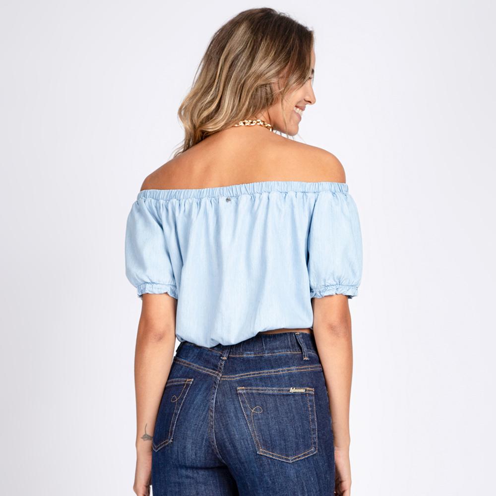 Blusa Top Jeans Cropped Ciganinha Delavê