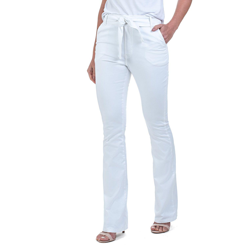 Calça Flare Jeans Com Cinto Branca