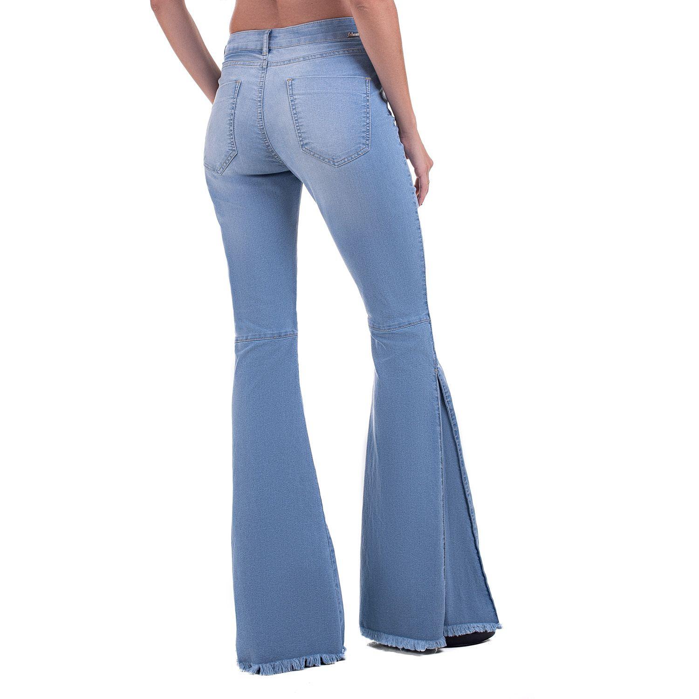 Calça Flare Taty Nesga Jeans Claro