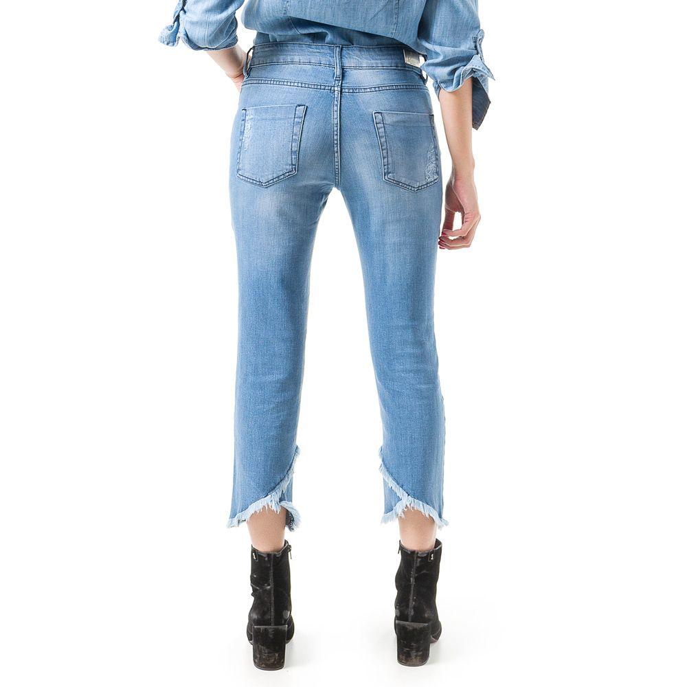 Calça Jeans Bloom Cigarrete Crooped Delavê Azul