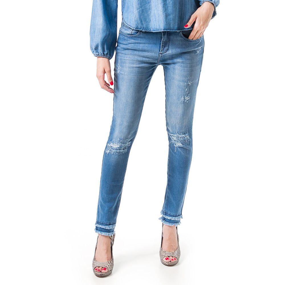 Calça Jeans Bloom Cigarrete Thifanny Azul Claro
