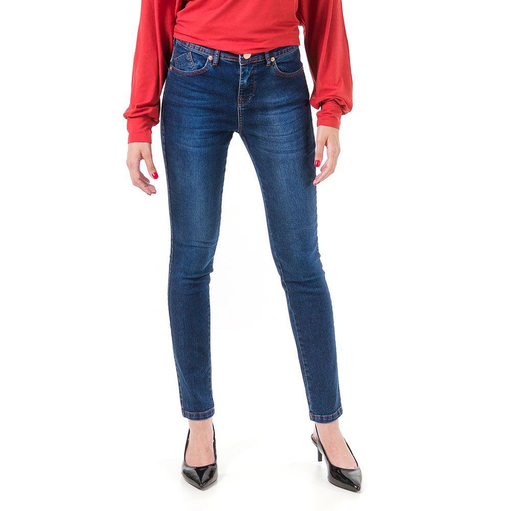 Calça Jeans Bloom Cigarrete Thiffany Azul Marinho