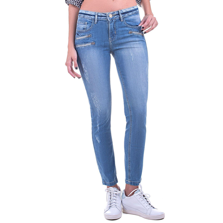 Calça Jeans Bloom Cigarrete Zíperes Frontais Azul