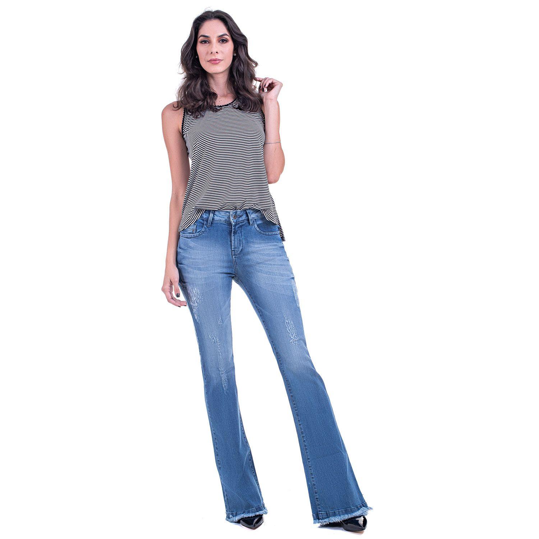 Calça Jeans Bloom Flare Barra Desfiada Azul