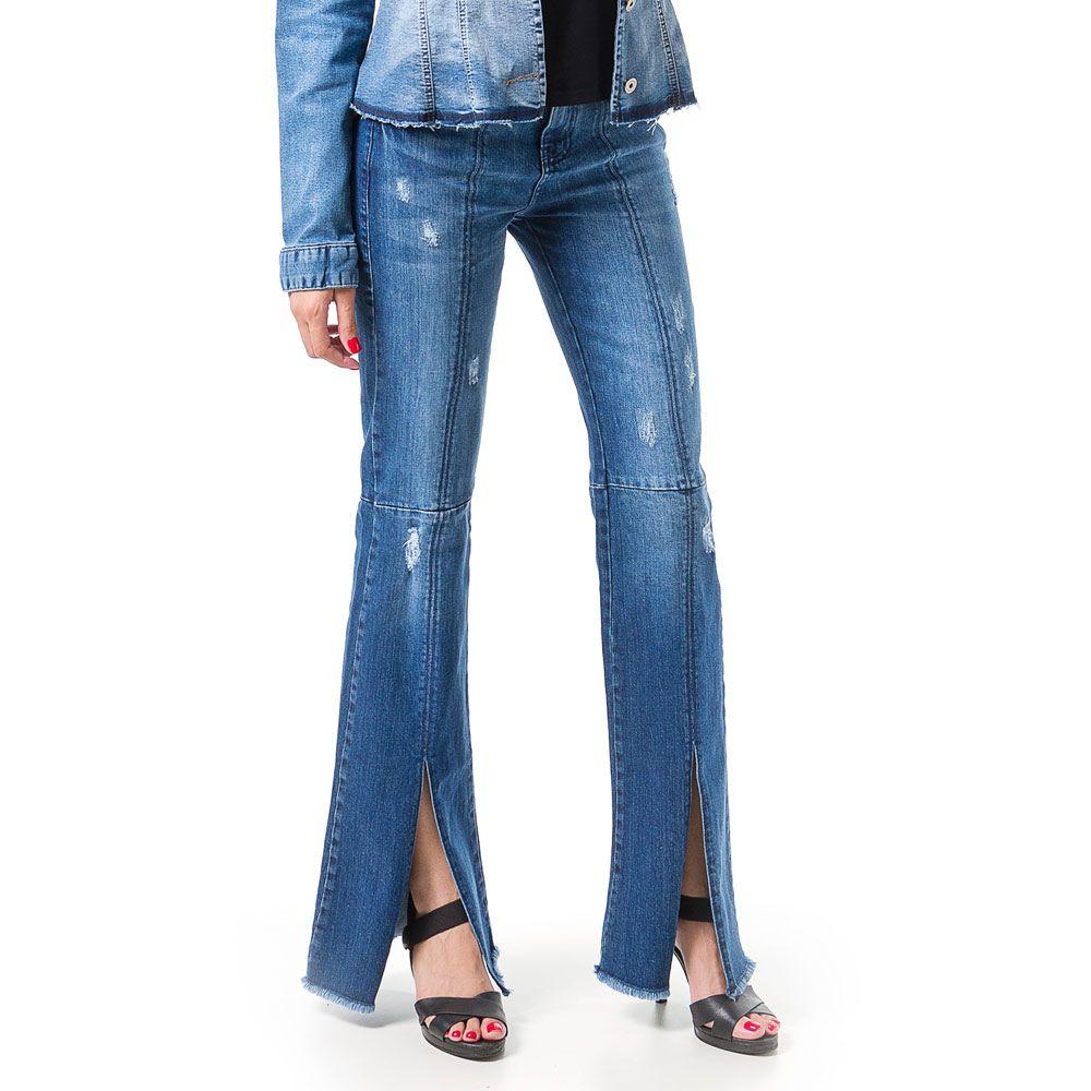 Calça Jeans Bloom Flare Destroyed com Fenda Azul
