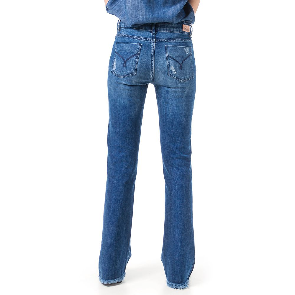 Calça Jeans Bloom Flare Taty Destroyed Azul
