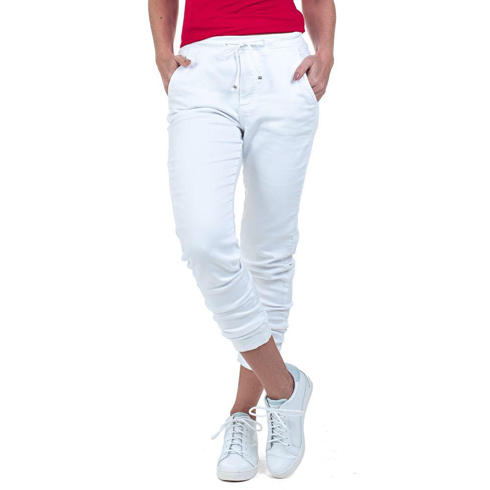 Calça Jeans Bloom Jogger Branca com Elástico