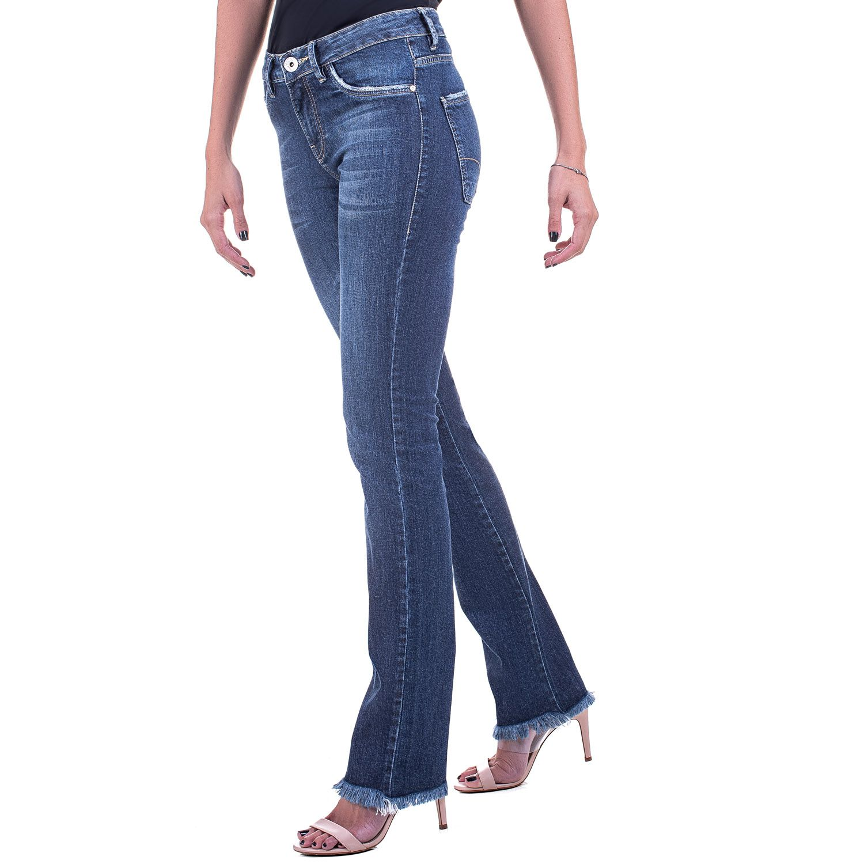 Calça Jeans Bloom Skinny Barra Desfiada Azul
