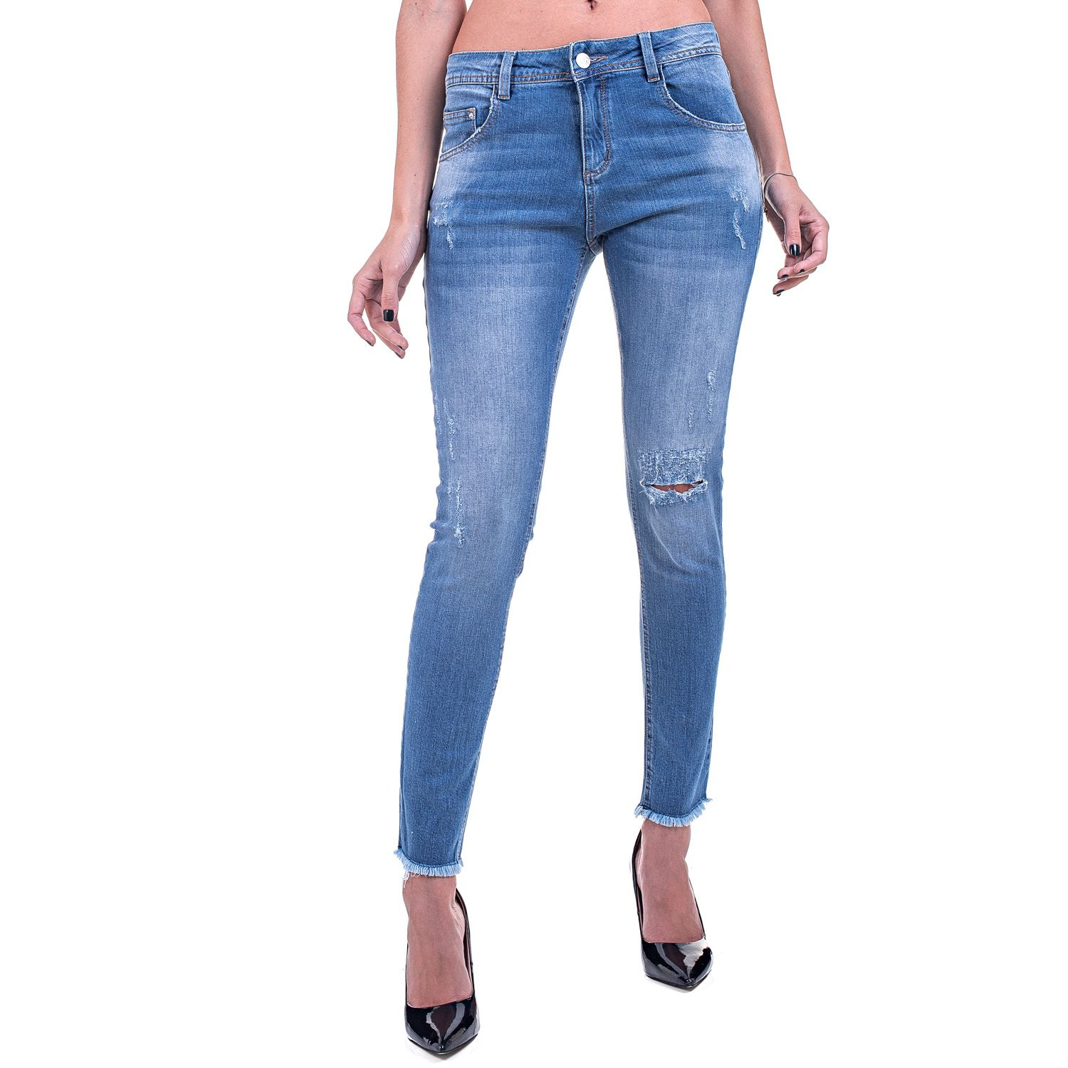 Calça Jeans Bloom Skinny Destroyed Azul