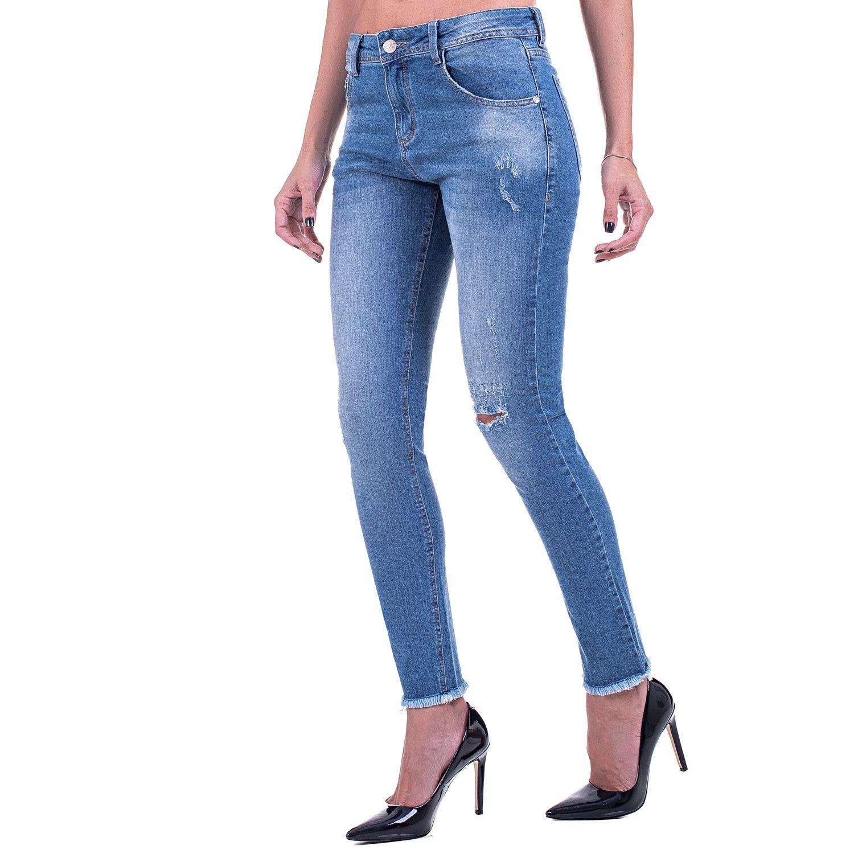 Calça Jeans Bloom Skinny Destroyed Azul