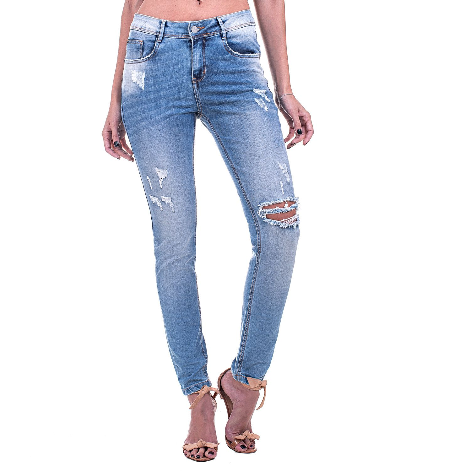 Calça Jeans Bloom Skinny Destroyed Azul Clara