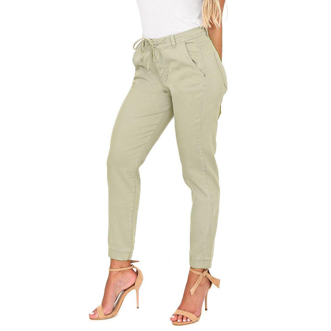 Calça Jeans Cigarrete Jogger com Cordão Verde Natureza