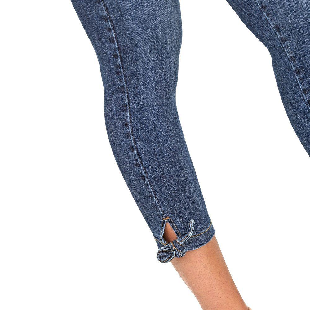Calça Jeans Cigarrete Lady com Detalhe Barra