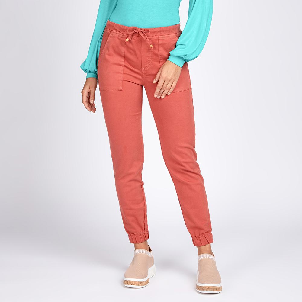 Calça Jeans Color Jogger Bolso Utilitário Elástico Barra Cor Terracota
