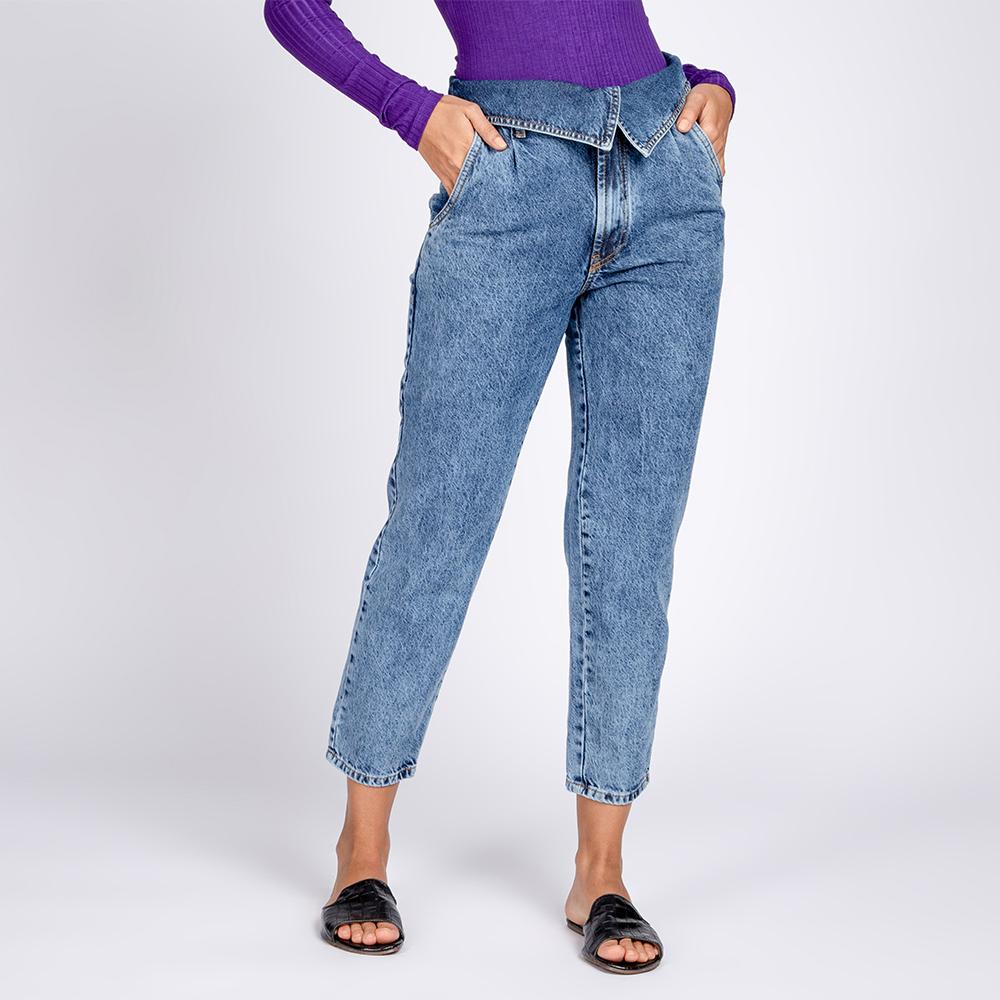 Calça Jeans Cropped Cós Virado