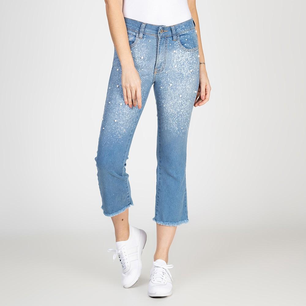 Calça Jeans Cropped Flare Bordado Pérola Delavê