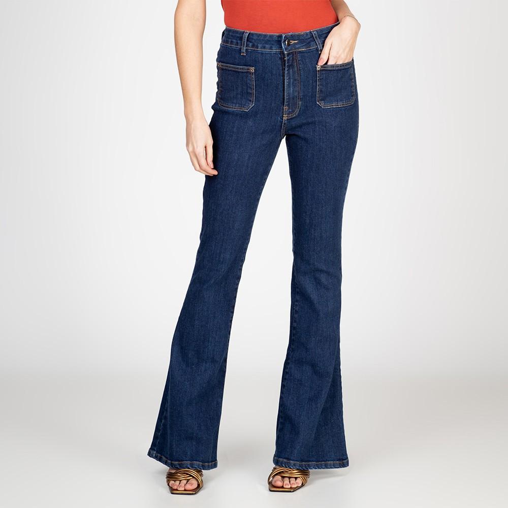 Calça Jeans Flare Bolsos Frontais Escura