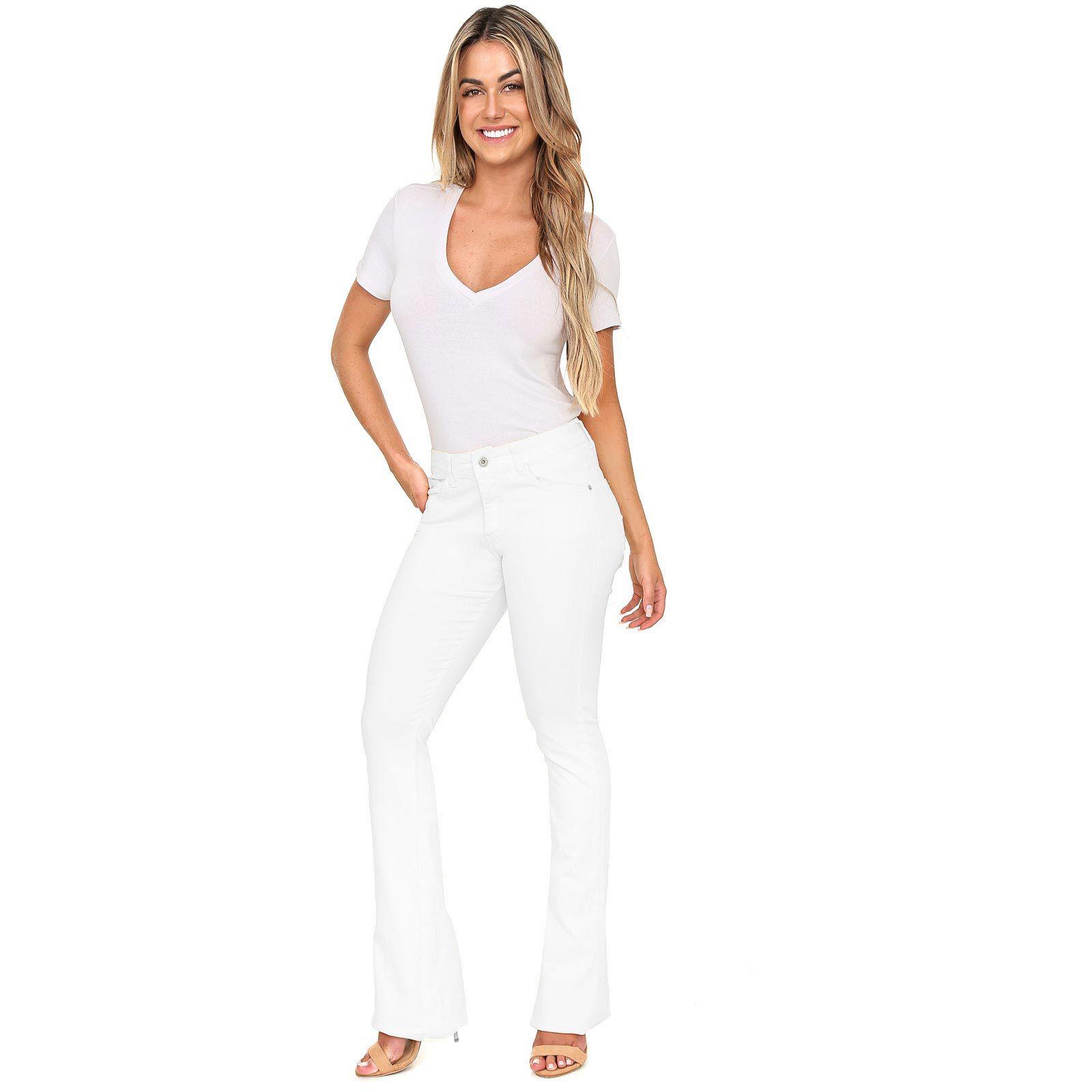 Calça Jeans Flare Color em Sarja de Moletom Cor Branca