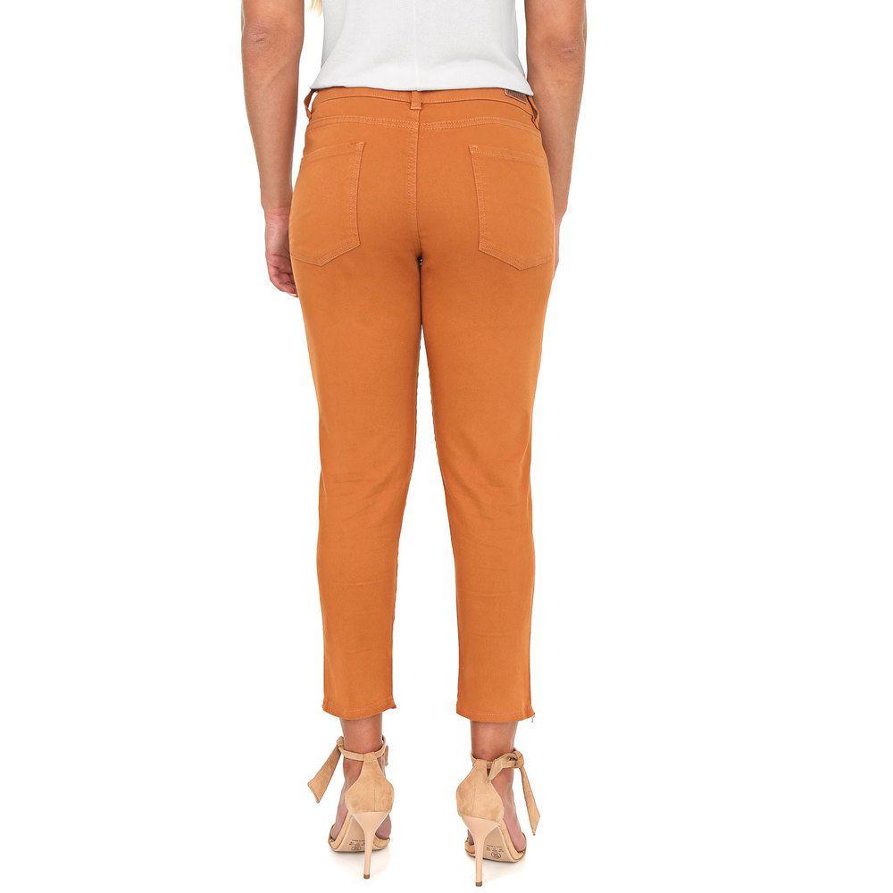 Calça Jeans Lady Cropped Camel