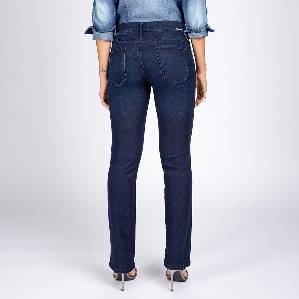 Calça Jeans Moletom Reta Bootcut Clássica Escura