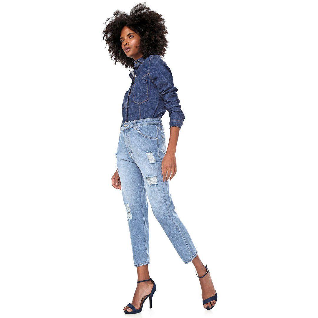 Calça Jeans Mom Destroyed Delavê