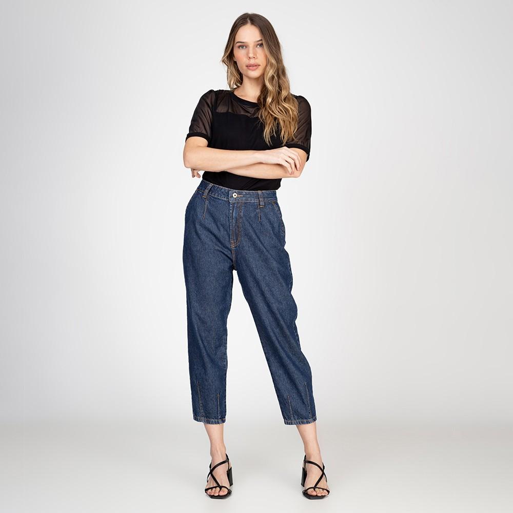 Calça Jeans Mom Recortes Escura