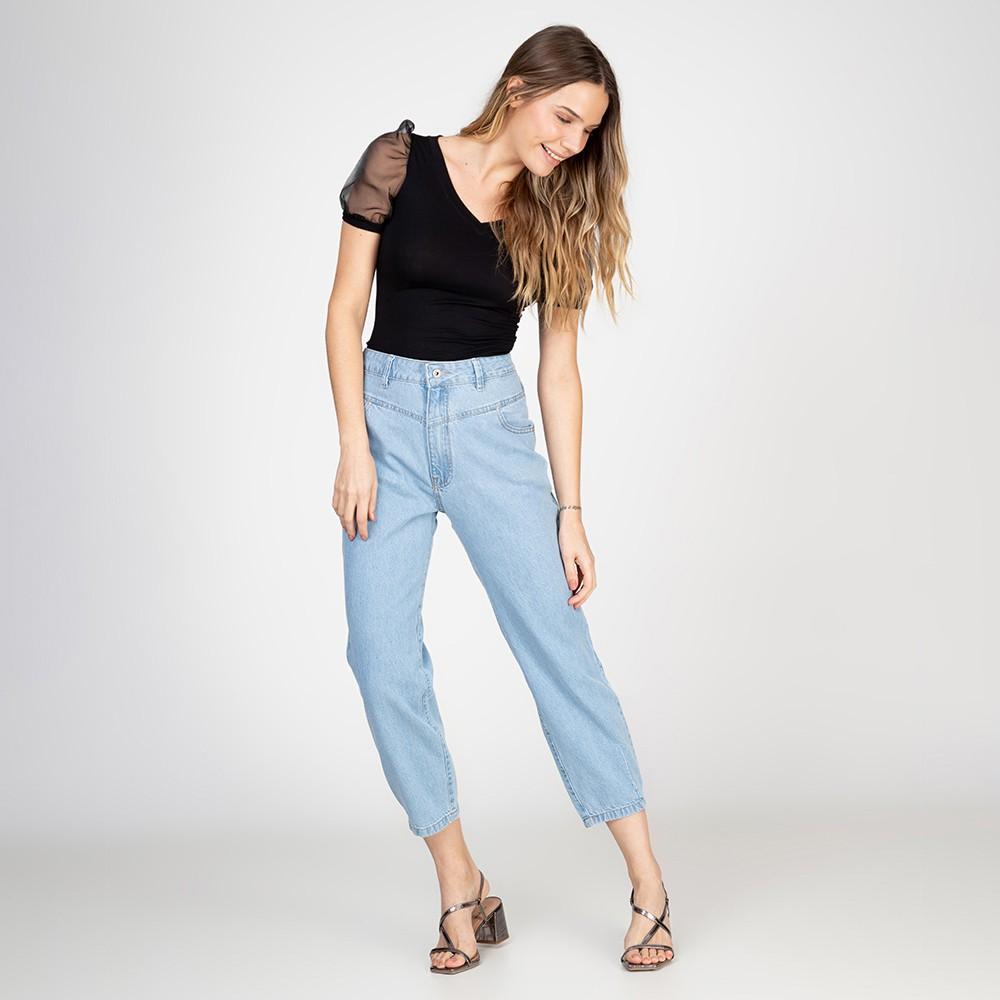 Calça Jeans Mom Recortes Frontais Delavê