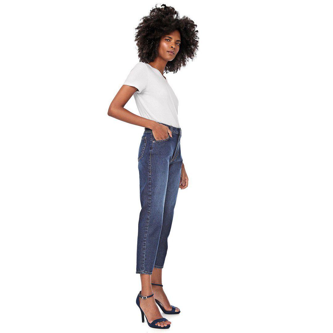 Calça Jeans Mom Stone Azul