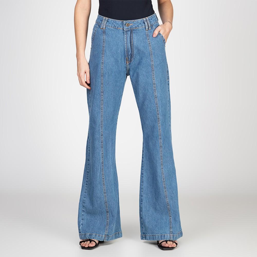 Calça Jeans Pantalona com Recorte