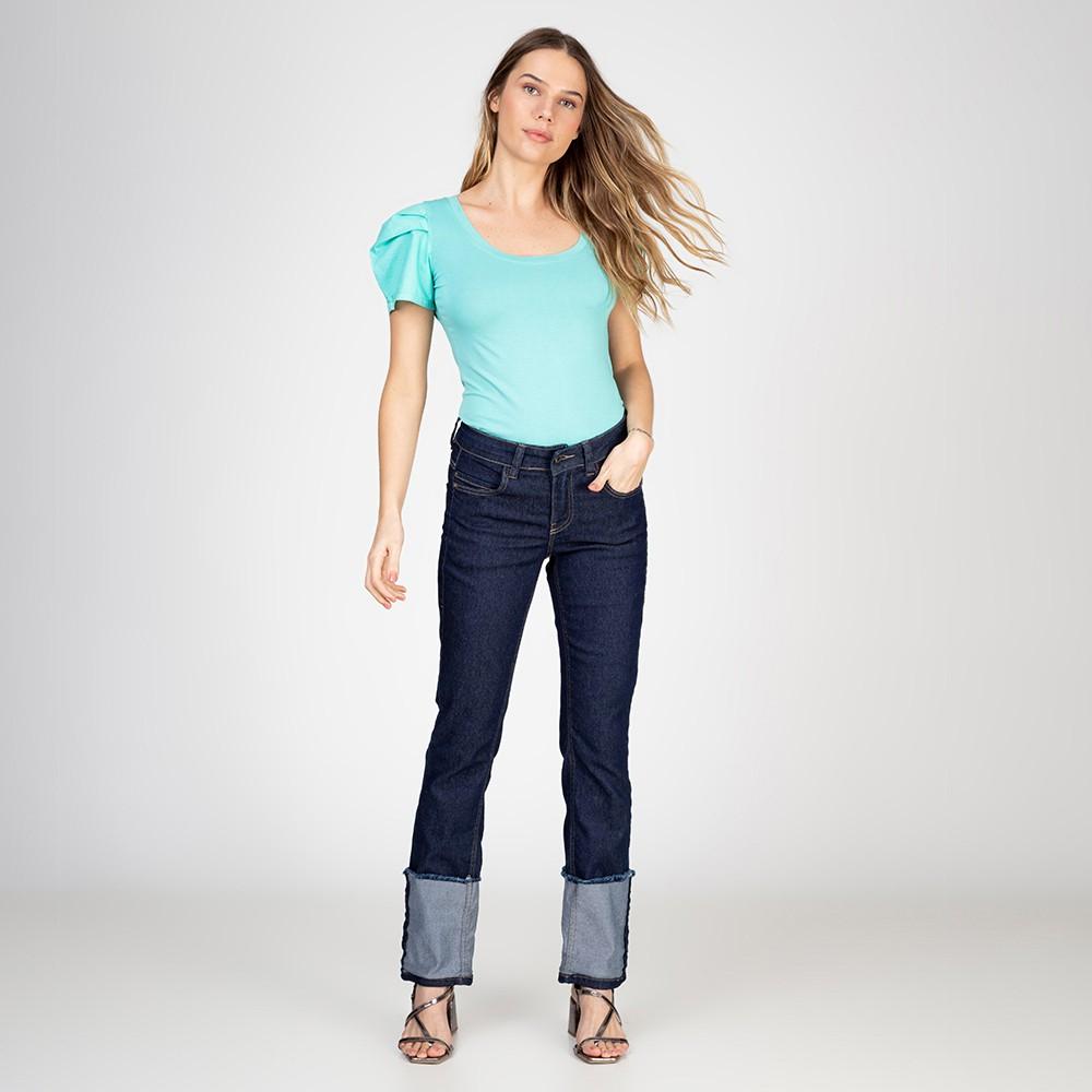 Calça Jeans Reta Judy Barra Virada