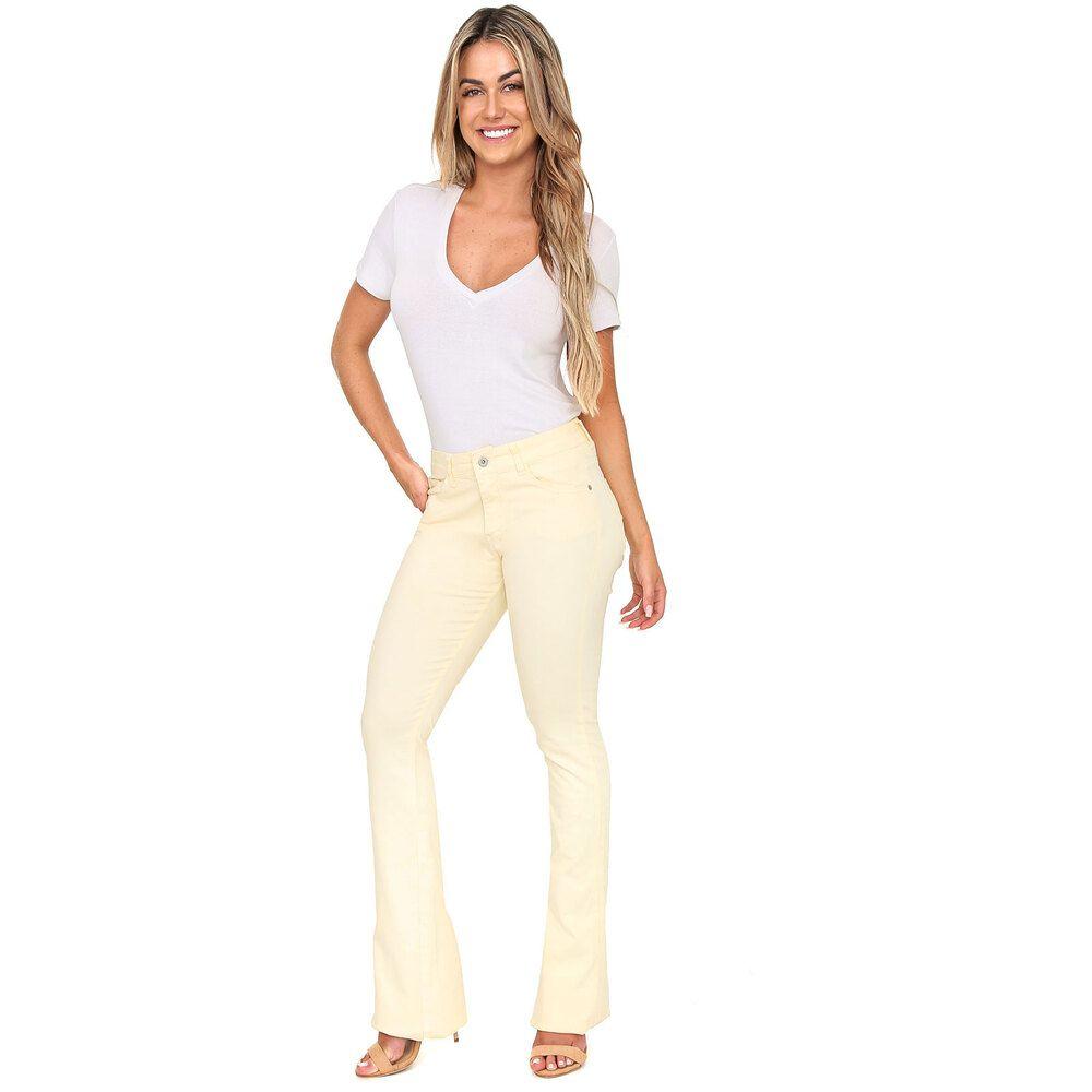 Calça Jeans Taty Flare Amarelo Canário