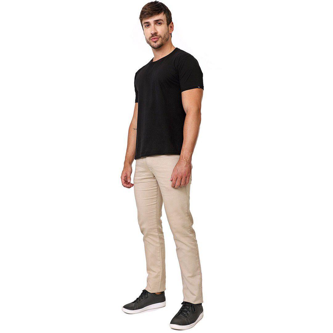 Calça Jeans tipo Moletom Slim Masculina Caqui