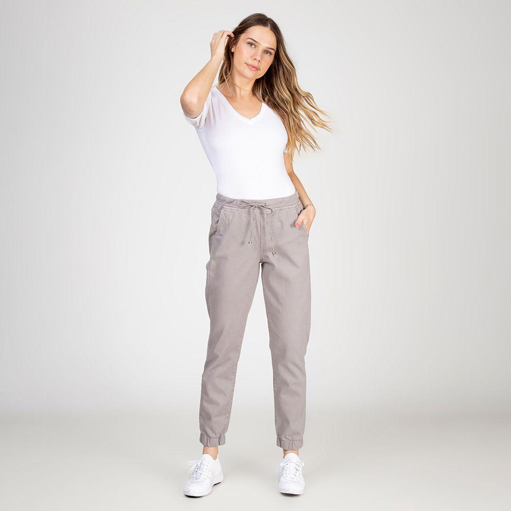 Calça Jogger Color em Jeans tipo Moletom Cor Granito