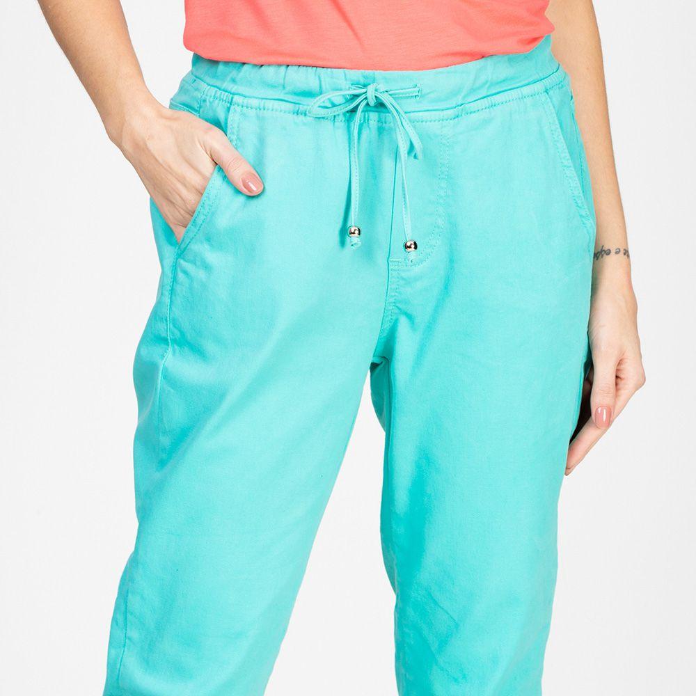 Calça Jogger Color em Jeans tipo Moletom Cor Neomint