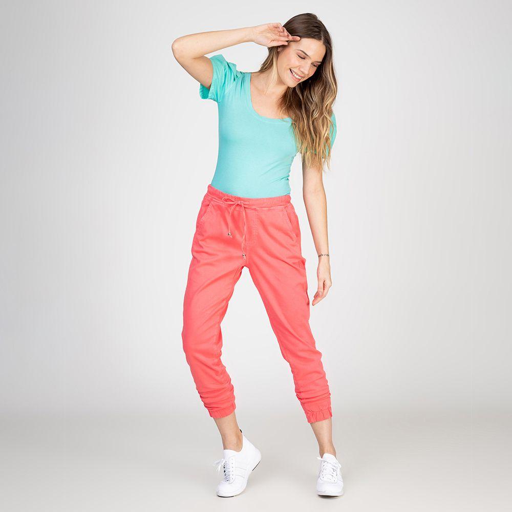 Calça Jogger Color em Jeans tipo Moletom Elastano Cor Chiclete