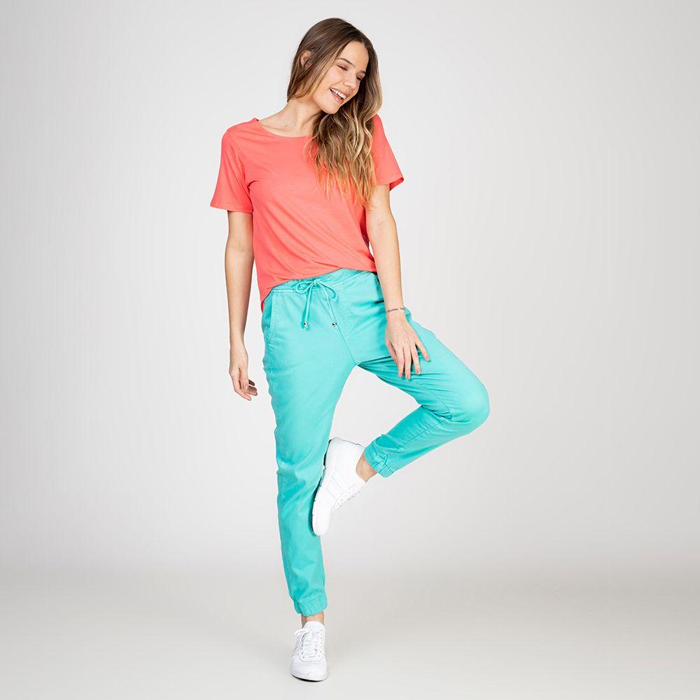 Calça Jogger Color em Sarja com Elastano Cor Neomint