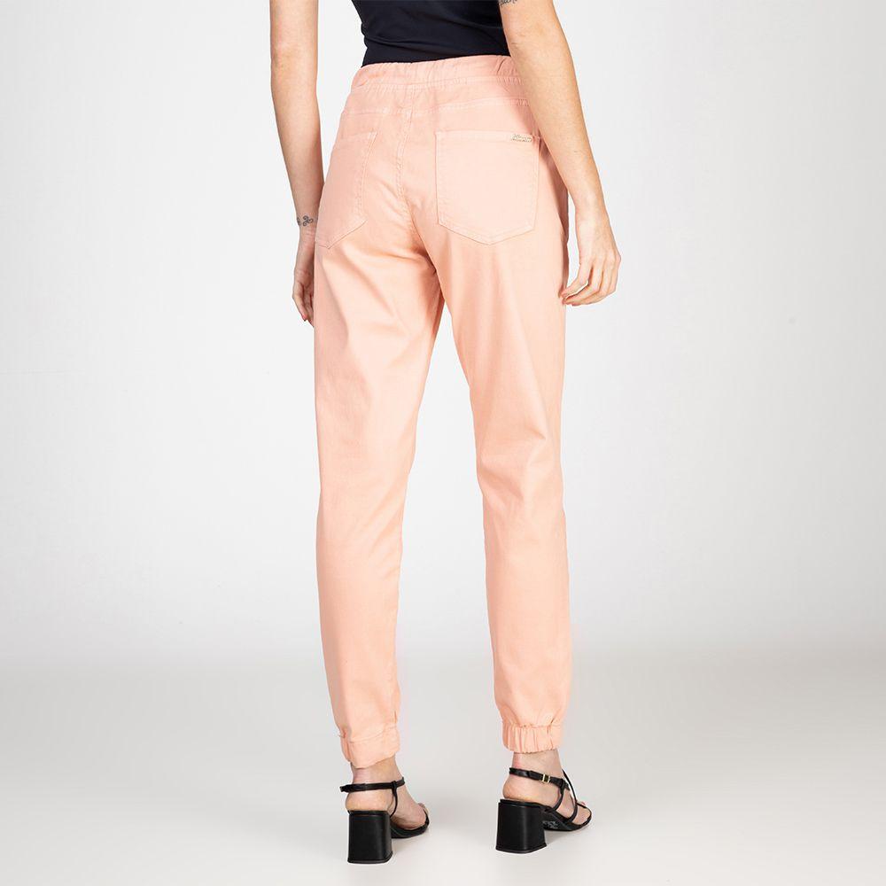 Calça Jogger Color em Jeans tipo Moletom Cor Melão