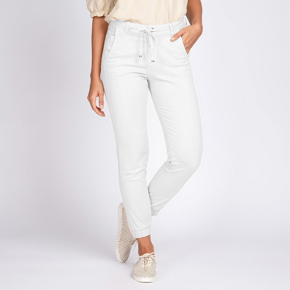 Calça Jogger Jeans Bloom tipo Moletom Branco