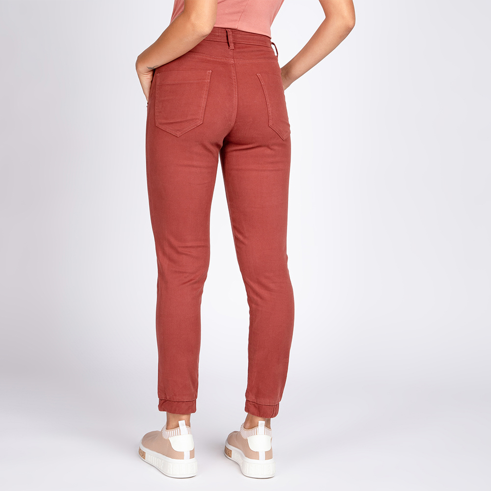 Calça Jogger Jeans Color Cor Amêndoa