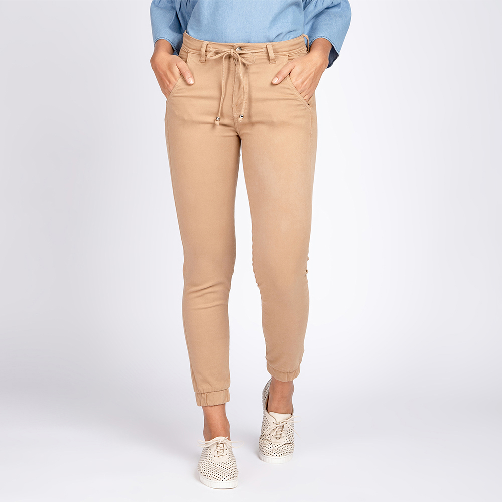 Calça Jogger Jeans Color Cor Camelo
